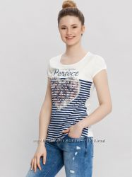 белая женская футболка LC Waikiki  ЛС Вайкики с надписью Perfect