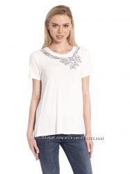 белая женская футболка LC Waikiki  ЛС Вайкики с бантиком возле горловины