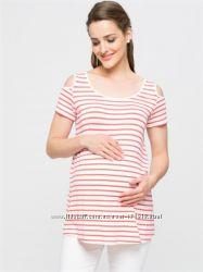 белая женская футболка LC Waikiki  ЛС Вайкики в красные полоски