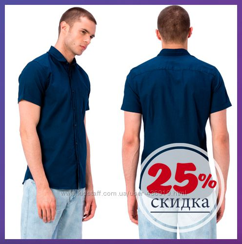 синяя мужская рубашка LC Waikiki  с коротким рукавом и с карманом
