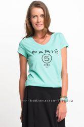 голубая женская футболка De Facto с надписью paris 5. фирменная Турция