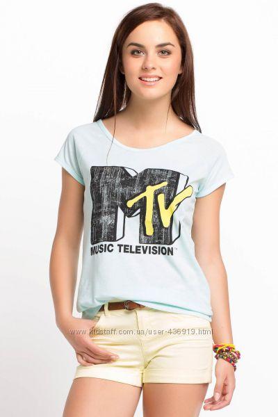 голубая женская футболка De Facto со значком mtv. фирменная Турция