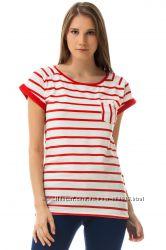 белая женская футболка De Facto с красными полосами. фирменная Турция