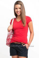 коралловая женская футболка De Facto с V-образным вырезом. фирменная Турция