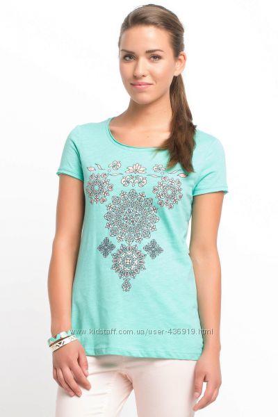бирюзовая женская футболка De Facto с цветочным узором. фирменная Турция