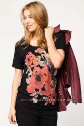 черная женская футболка De Facto с яркими цветами. фирменная Турция