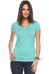 голубая женская футболка De Facto с V-образным вырезом. фирменная Турция