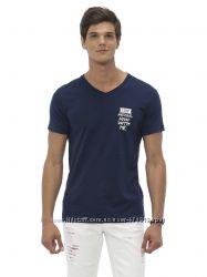 синяя мужская футболка LC Waikiki с белой надписью