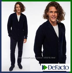 вязаный мужской пиджак De Facto де факто шерстяной на пуговицах