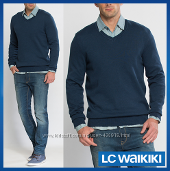 cиний мужской свитер LC Waikiki  ЛС Вайкики с V-образным вырезом