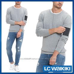 серый мужской свитер LC Waikiki  ЛС Вайкики с карманом на молнии на рукаве