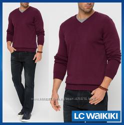 бордовый мужской свитер LC Waikiki  ЛС Вайкики с V-образным вырезом