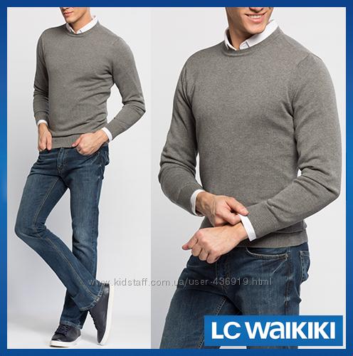 серый мужской свитер LC Waikiki  ЛС Вайкики с круглой горловиной
