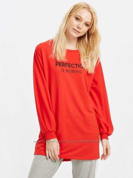 красный женский свитшот LC Waikiki с надписью Perfection is boring
