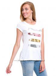 белая женская футболка Lc Waikiki  Лс Вайкики с полосками