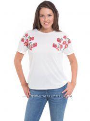 белая женская футболка Lc Waikiki  Лс Вайкики с красными маками