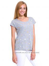 cерая женская футболка Lc Waikiki  Лс Вайкики с золотыми звёздочками