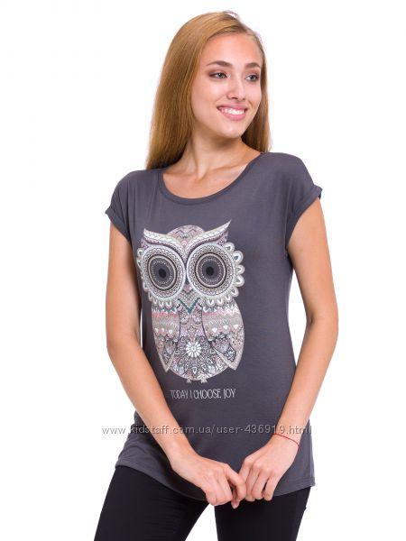 женская футболка серая LC Waikiki  ЛС Вайкики с совой на груди