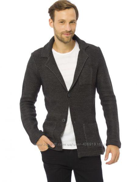 мужской пиджак серый LC Waikiki  ЛС Вайкики с латками и карманами