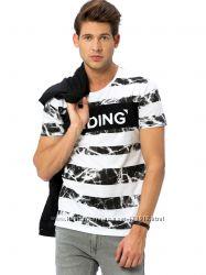 мужская футболка белая Lc Waikiki  Лс Вайкики в мраморную полоску Hiding