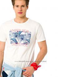 мужская футболка белая Lc Waikiki с надписью Hyper real existence