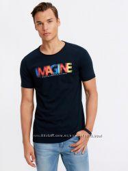 мужская футболка синяя Lc Waikiki  Лс Вайкики с надписью Imagine