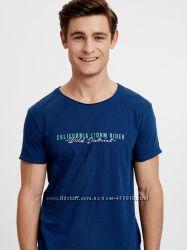 мужская футболка синяя Lc Waikiki с надписью California Storm Rider