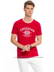 мужская футболка красная Lc Waikiki  Лс Вайкики с надписью Crenshaw