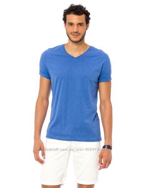 мужская футболка голубая Lc Waikiki  Лс Вайкики с V-образным вырезом