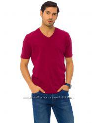 мужская футболка бордовая Lc Waikiki  Лс Вайкики с V-образным вырезом