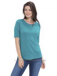 бирюзовая женская футболка с круглым вырезом