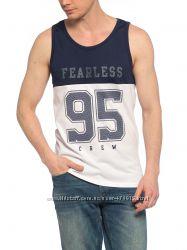 белая мужская майка Lc Waikiki с синей полосой и надписью Fearless 95 Crew