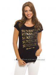 черная женская футболка Lc Waikiki  Лс Вайкики с золотой надписью SUNSHINE