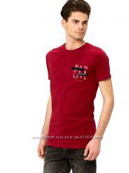мужская футболка бордовая LC Waikiki  ЛС Вайкики с надписью Wanderlust