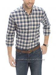 байковая мужская рубашка LC Waikiki  ЛС Вайкики в синюю и бежевую клетку