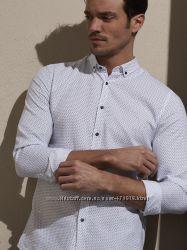мужская рубашка белая LC Waikiki  ЛС Вайкики в мелкие синие листики