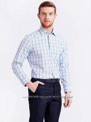 мужская рубашка белая lc waikiki  лс вайкики в голубую и синюю клетку