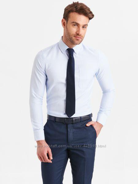 мужская рубашка голубая LC Waikiki с карманом с пуговицами на воротнике