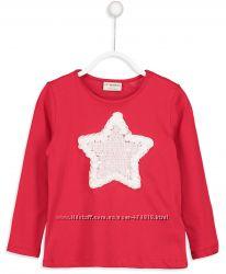 реглан для девочки красный lc waikiki с белой звездой из паеток и розочек
