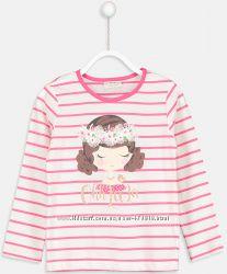 реглан для девочки белый lc waikiki в розовую полоску с девочкой ohh la la