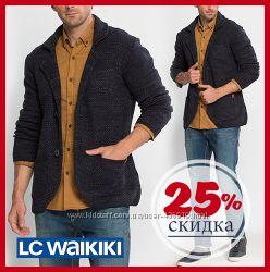 мужской пиджак LC Waikiki синий меланжевый c 3-мя накладными карманами