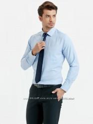мужская рубашка голубая lc waikiki в мелкую елочку с карманом на груди