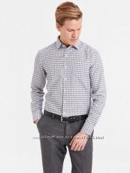 мужская рубашка белая lc waikiki в черную клетку с карманом на груди