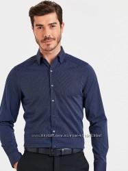 мужская рубашка синяя lc waikiki  лс вайкики в тонкий голубой принт