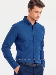 байковая мужская рубашка lc waikiki синяя с карманом на груди, в клетку