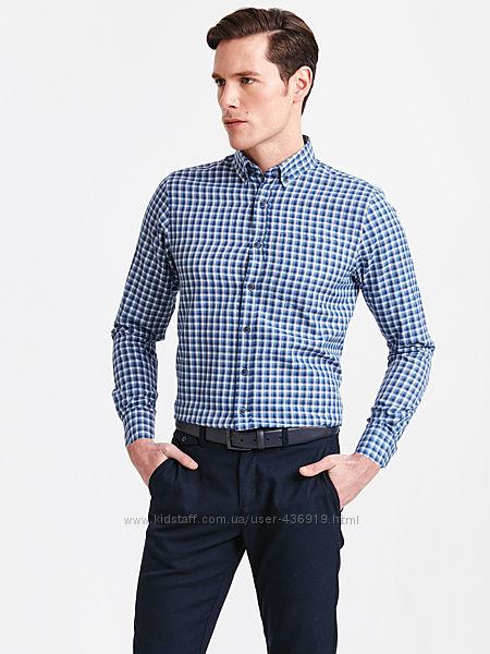 cиняя мужская рубашка LC Waikiki  ЛС Вайкики в белую и голубую клетку