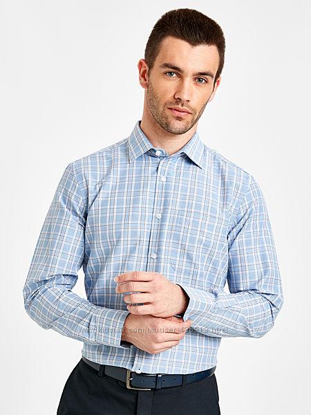 белая мужская рубашка LC Waikiki  ЛС Вайкики в голубую и коричневую клетку