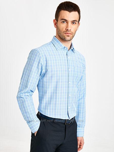 белая мужская рубашка LC Waikiki  ЛС Вайкики в голубую и зеленую клетку