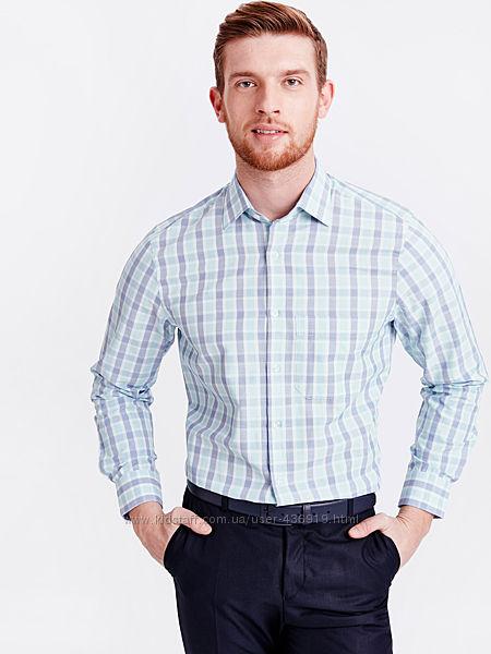 белая мужская рубашка LC Waikiki в мятную и синюю клетку, с карманом