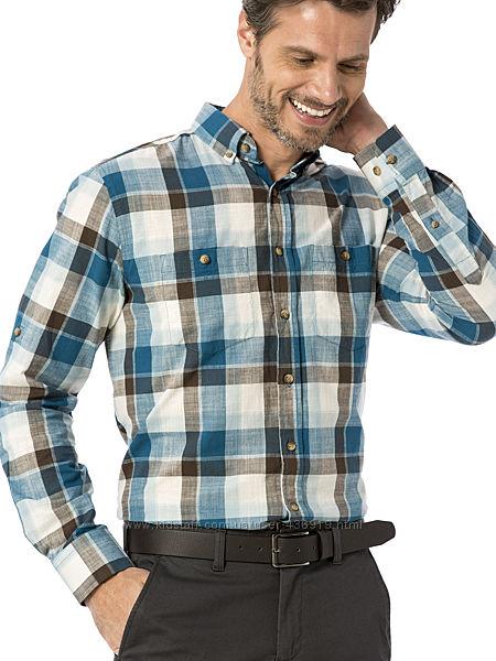 мужская рубашка LC Waikiki в бирюзово-коричневую клетку, с карманами